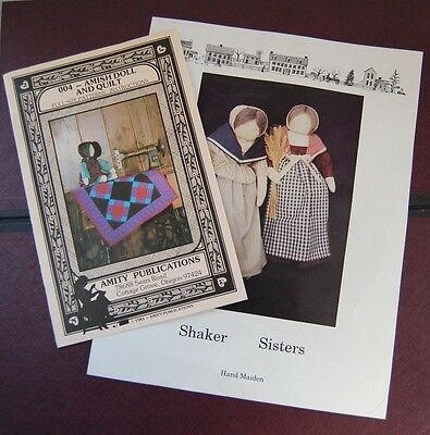 Lot of  2 Doll Patterns Amish doll & quilt Amity Publications - Shaker Sisters