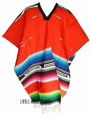 TRIBAL SERAPE Mexican PONCHO - RED - ONE SIZE FITS ALL Blanket Gaban