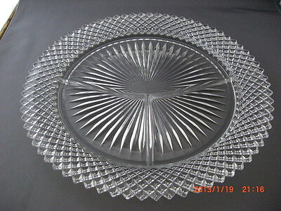 """Vintage Anchor Hocking 10"""" Miss America Clear Grill Plate Perfect Condition"""