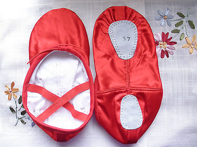 Professional lady girl split sole soft red satin ballet dance shoes - New