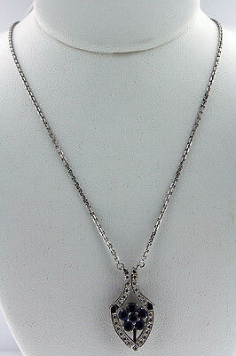 .69ct Sapphire  Diamond Necklace 14k White Gold