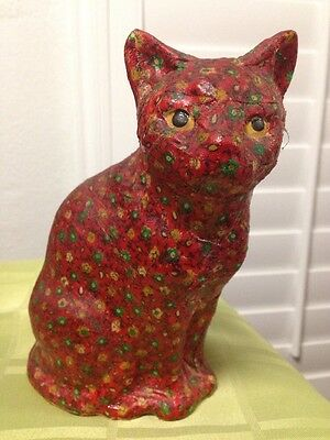 Vintage Cat Floral Fabric Covered & Glazed Cat Statue Made In Japan Rare