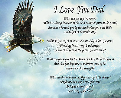 I Love You Dad Personalized Art Poem Memory Birthday Father's Day Gift