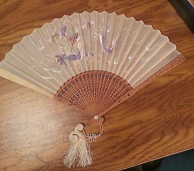 Antique Chinese Embroidered Hand Fan w/Original Box, Ca. 1860