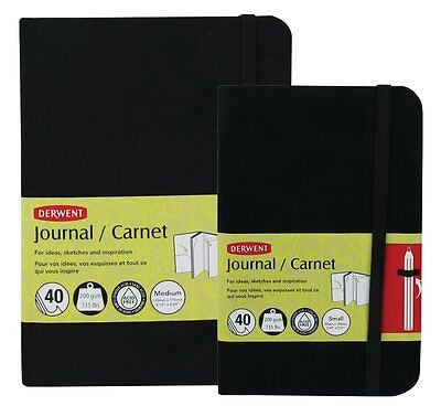 Derwent Faux Black Suede Artists Journal Pocket Book 40 Sheets - Small or Medium
