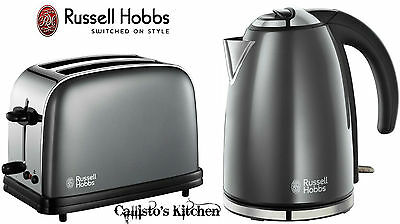 Kettle and Toaster Sets Russell Hobbs Colours 2 Slice Toaster & Grey Jug Kettle