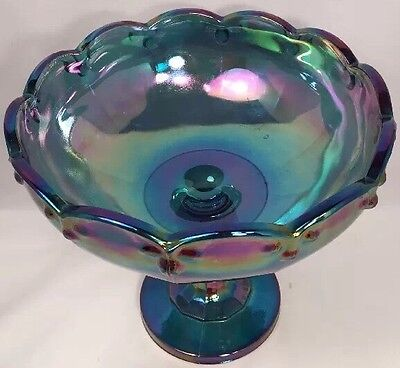 Beautiful Vintage Blue Iridescent Indiana Carnival Glass Tall Fruit Bowl