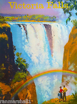 Victoria Falls Zimbabwe Africa African Vintage Travel Art Poster Advertisement