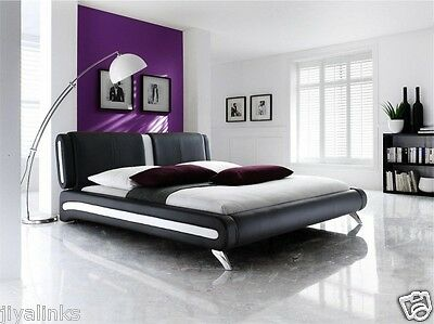 Adda Modern Double/King Size Faux Leather Beds Black & White Bed+Memory Mattress