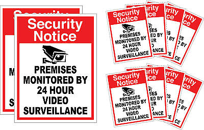 10x Home CCTV Surveillance Security Camera Video Sticker Warning Decal Safety