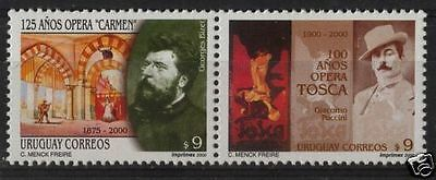 Opera music composers Bizet & Puccini  Tosca URUGUAY Sc#1872 MH STAMP cv$5.75