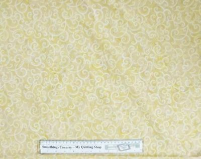 Quilting Patchwork Sewing Fabric CREAM GOLD SWIRLS BATIK Cotton Material 50x5...