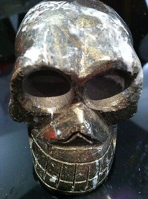 Pyrite Skull Hand Carved