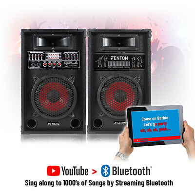 "Pair 8"" Speakers Active-Passive Home DJ Karaoke Party Set USB Mic Input 600W"