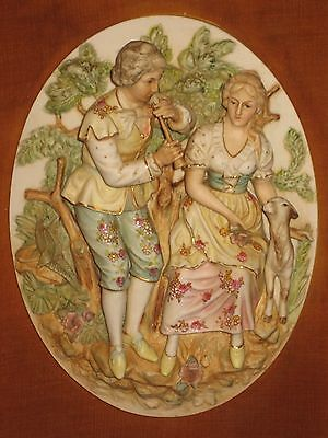 Antique Framed Capodimonte Porcelain China Victorian Relief Plaque Padded Mat