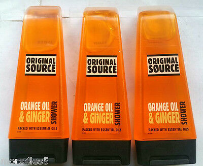 3 x Original Source ORANGE OIL & GINGER Shower Gel 250ml Natural Fragrance New