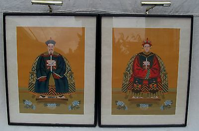 Pair Antique Chinese Ancestral Portraits With Lighted Museum Frames-Choice Items
