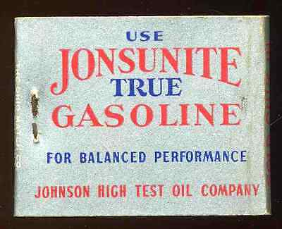 Vintage 1930's 1940's Jonsulite Gasoline Johnson Oil Company Hi-Duty Matchbook