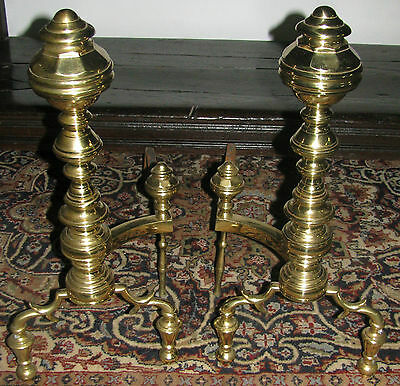 Pair Of Chippendale Style Brass Andirons On Ball Feet - Exceptional