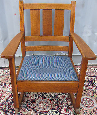 Antique Arts & Crafts Mission Oak Ladies Rocking Arm Chair / Rocker