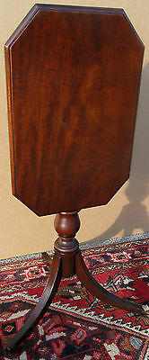 Federal Mahogany Tilt Top Candle Stand With Octagonal Top On Tiny Bun Feet