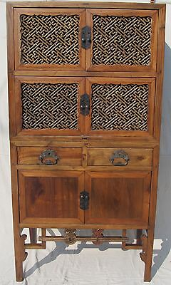 Fine Late 19Th Century Lattice Worked Two Piece Chinese Cabinet