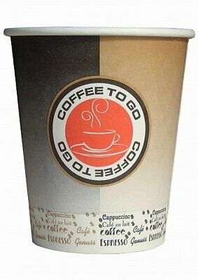 1000 Coffee to go Becher, Kaffeebecher aus Hartpapier 0,2l black/orange