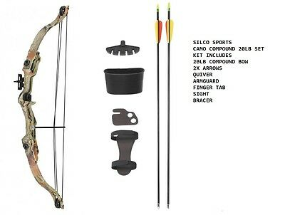 Camo Archery Compound Bow Set 20 -JUNIOR with Accessories & 2 Arrows - R/H