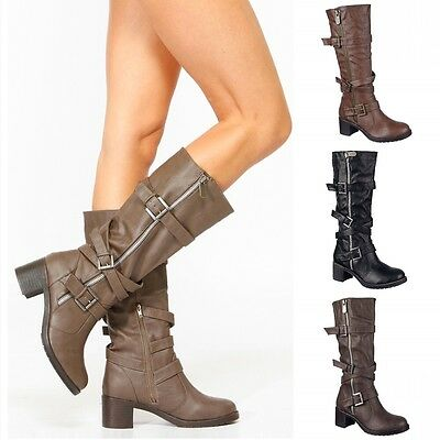 58e9b6f1e24 Women s Knee high Mid calf Buckle Riding Combat Military Boots Shoes Size  B48