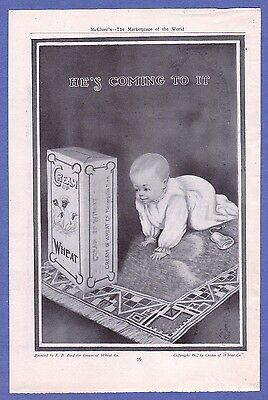 "1912 Cream of Wheat ""He's Coming To It"" Ad in Near Mint Condition"