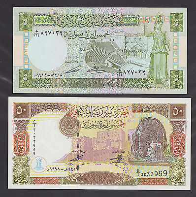 SYRIA  5 Pounds 1988 & 50 Pounds 1998  Two banknotes , both UNC