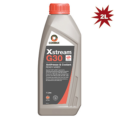 Comma Xstream G30 Ready Mix Antifreeze & Coolant - 2x1L=2 Litre (RED)