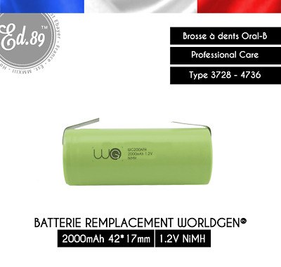 Batterie NiMH 2000mAh 42x17mm Oral B Professional Care Type 3728