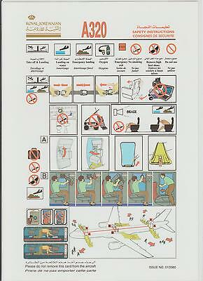 Safetycard Royal Jordanian A320, ISSUE NO.01/2000