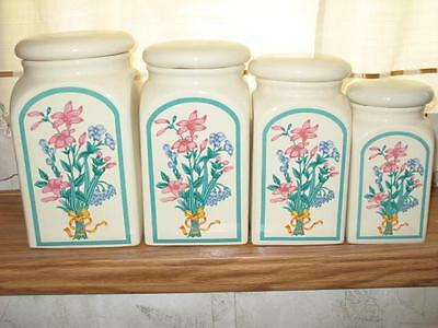 BEAUTIFUL MONTGOMERY WARD CERAMIC CANISTER-SET OF 4- PINK BLUE FLORAL - RARE EUC