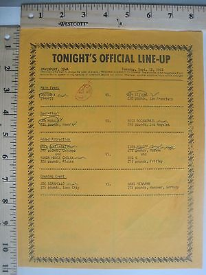 Vintage Wrestling Tonight's Line-Up Sheet Tuesday September 12, 1972 WWF/WWE