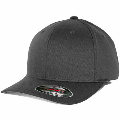 Flexfit Precurved Hat (Charcoal Grey) Men's Blank Stretch Cap
