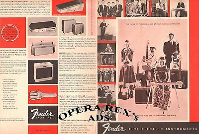 FENDER CATALOG, 4 PAGES Original Vintage Print AD 1960