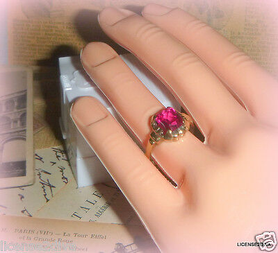 Yellow Gold 10K Genuine Deco Nouveau Ring Red Radiant Stone Size 7 True Vintage