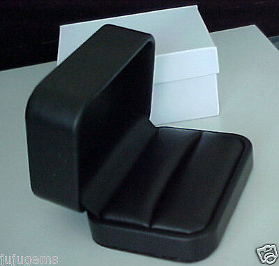 ONE Black Leatherette Double Ring Wedding Presentation Jewelry Storage Gift Box