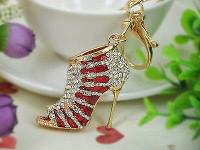 KC169 Red High-heeled Shoes Keyring Women Rhinestone Key Bag Chain Pendant Gift