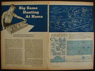 Big Game Hunting PINBALL Machine 1948 How-To build PLANS Marble Game
