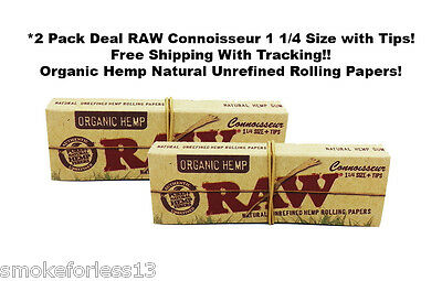 Raw Organic Connoisseur Rolling Papers 1 1/4 *2 Packs+Tips Free Ship W/TRACKING*