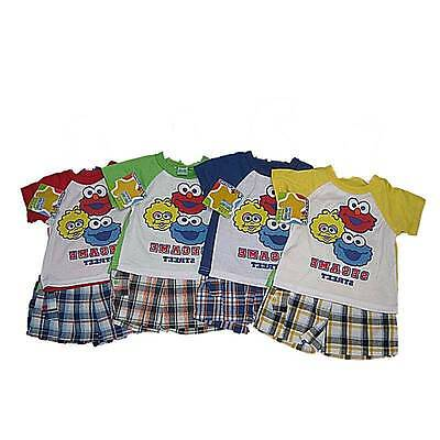 New Sesame Street Infant Baby Boy Short Outfit Plaid 12 18 24 Months Set