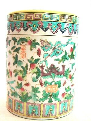 Chinese Porcelain Tongzhi Famille Rose Peaches & Flowers Drum Covered Jar 6""