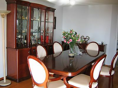 Dining Room Set Cherry Aurora Table Chairs China Cabinet Hutch Server Italy
