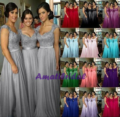 Long Chiffon Wedding Evening Formal Party Ball Gown Prom Bridesmaid Dress 6-16-