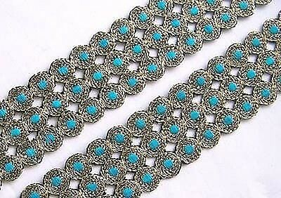 Embroidered, Iron-On Trim. 3 Yards. Gold & Turquoise