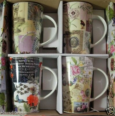 """Maxwell & Williams Set Of 4 Porcelain Mugs """"vintage Collage""""  Mint In Box  Xf143"""