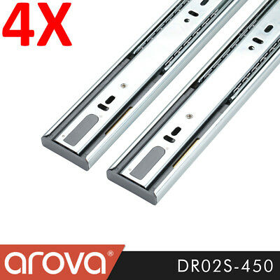 4 Pairs Push Open Ball Bearing Drawer Runners Slides 450mm Full Extension Vanity